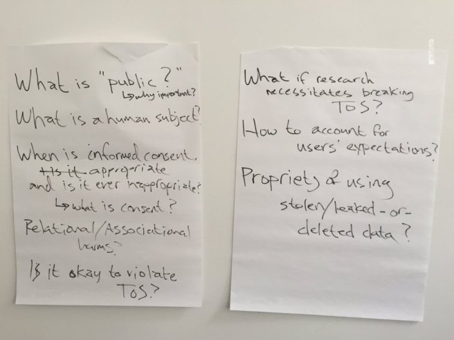 "brainstormed ""big open questions"" at the close of the workshop"